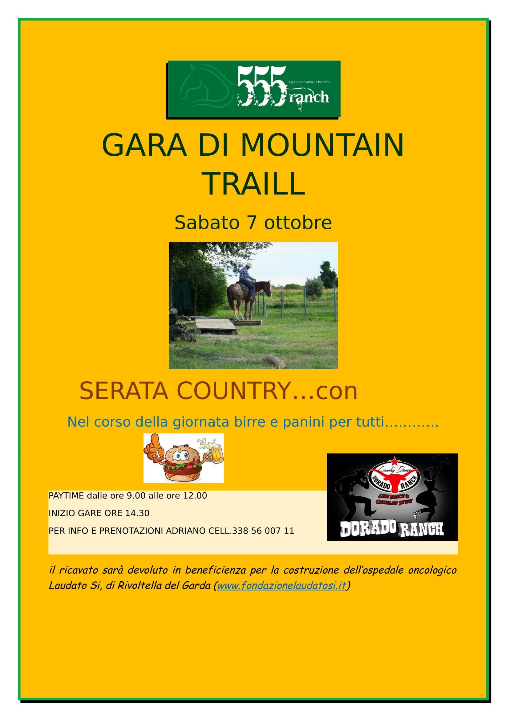 GARA DI MOUNTAIN TRAILL SABATO 7 OTTOBRE 2017